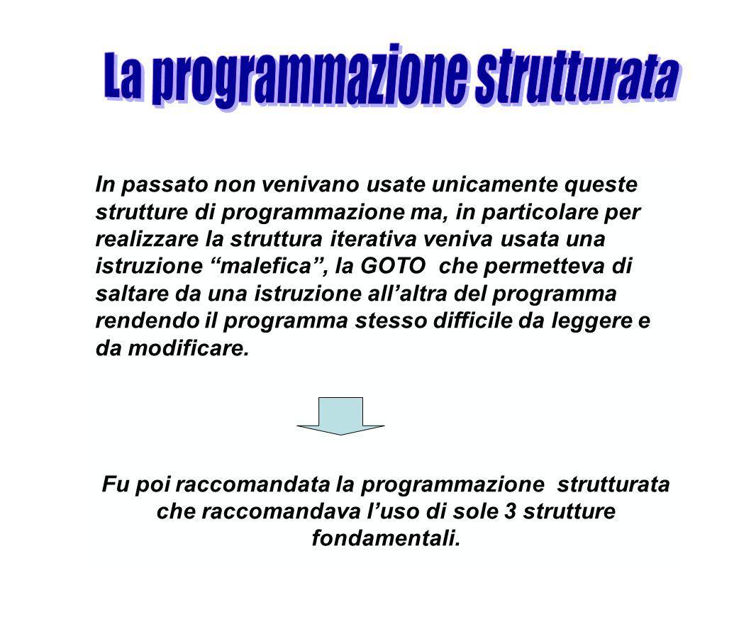 In passato non venivano usate unicamente queste strutture di programmazione ma, in particolare per realizzare la struttura iterativa veniva usata una