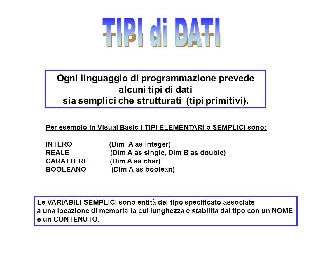 Ogni linguaggio di programmazione prevede alcuni tipi di dati sia semplici che strutturati (tipi primitivi). Per esempio in Visual Basic i TIPI ELEMEN