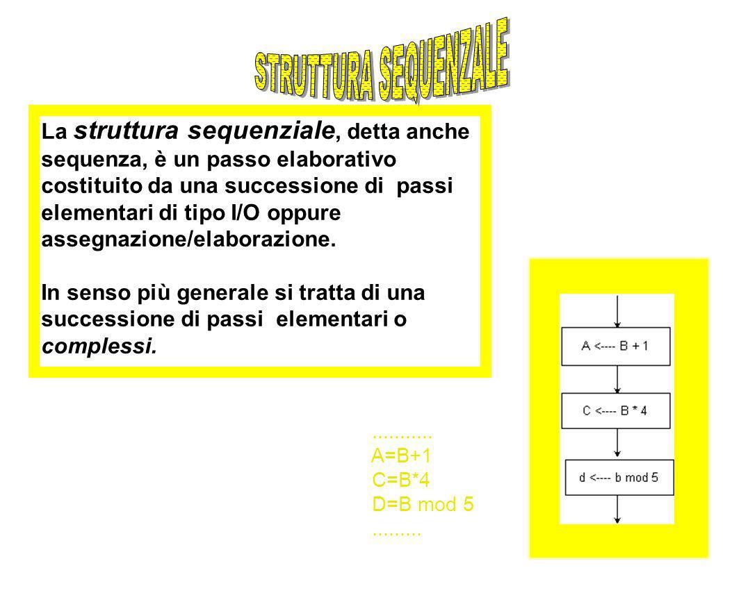 La struttura sequenziale, detta anche sequenza, è un passo elaborativo costituito da una successione di passi elementari di tipo I/O oppure assegnazio
