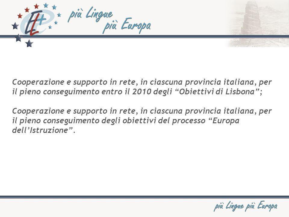 Cooperazione e supporto in rete, in ciascuna provincia italiana, per il pieno conseguimento entro il 2010 degli Obiettivi di Lisbona; Cooperazione e supporto in rete, in ciascuna provincia italiana, per il pieno conseguimento degli obiettivi del processo Europa dellIstruzione.
