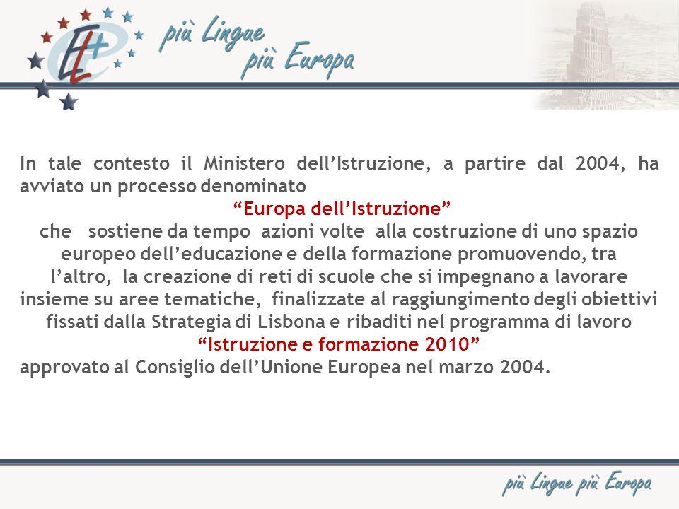 In tale contesto il Ministero dellIstruzione, a partire dal 2004, ha avviato un processo denominato Europa dellIstruzione che sostiene da tempo azioni volte alla costruzione di uno spazio europeo delleducazione e della formazione promuovendo, tra laltro, la creazione di reti di scuole che si impegnano a lavorare insieme su aree tematiche, finalizzate al raggiungimento degli obiettivi fissati dalla Strategia di Lisbona e ribaditi nel programma di lavoro Istruzione e formazione 2010 approvato al Consiglio dellUnione Europea nel marzo 2004.