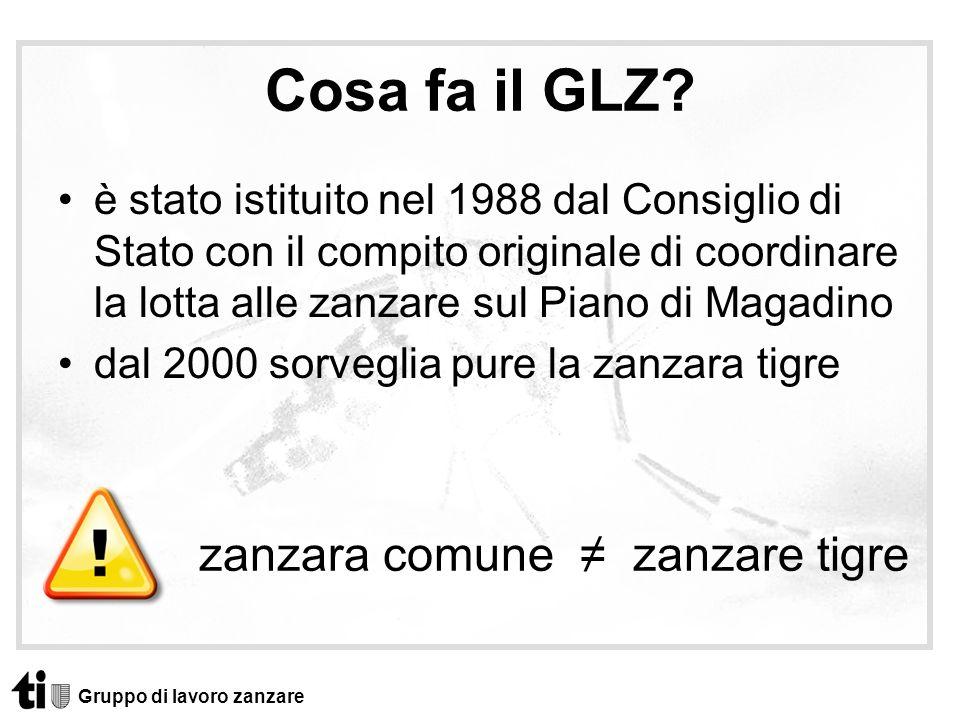 Cosa fa il GLZ? è stato istituito nel 1988 dal Consiglio di Stato con il compito originale di coordinare la lotta alle zanzare sul Piano di Magadino d