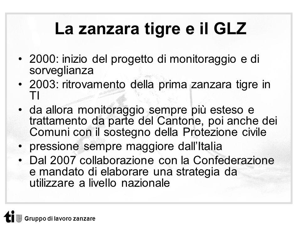 La zanzara tigre e il GLZ 2000: inizio del progetto di monitoraggio e di sorveglianza 2003: ritrovamento della prima zanzara tigre in TI da allora mon
