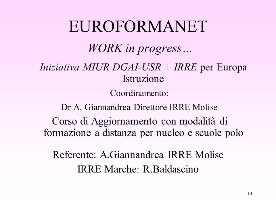 14 EUROFORMANET WORK in progress… Iniziativa MIUR DGAI-USR + IRRE per Europa Istruzione Coordinamento: Dr A.