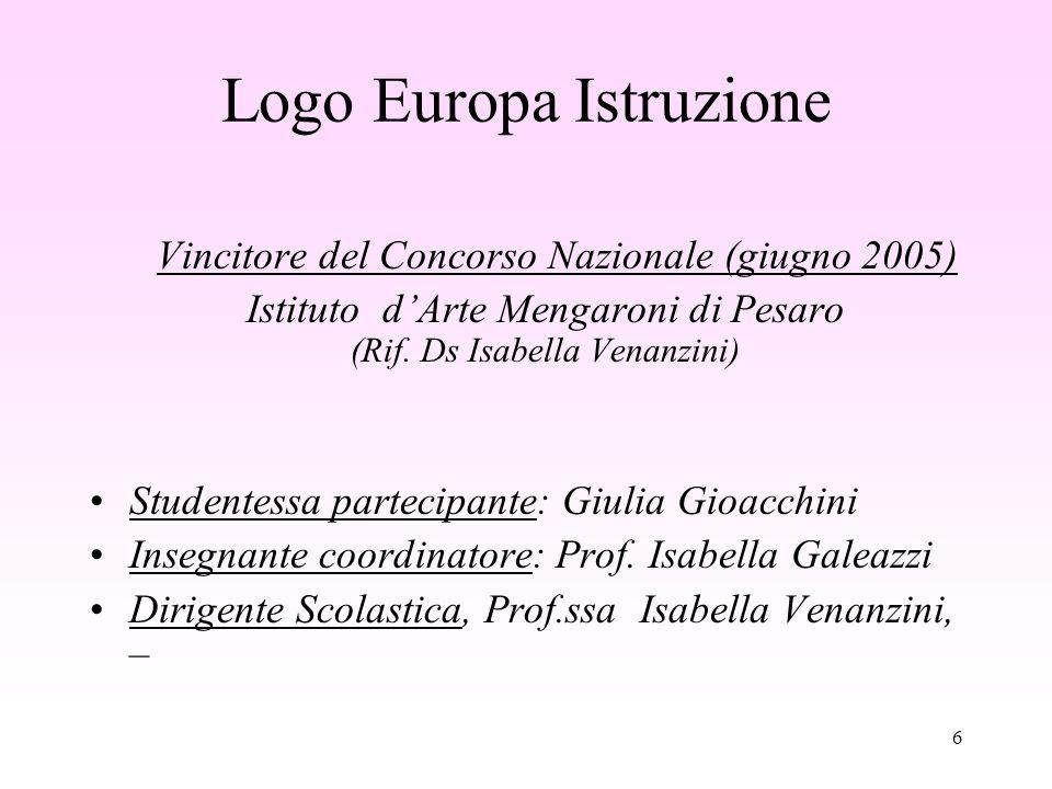 6 Logo Europa Istruzione Vincitore del Concorso Nazionale (giugno 2005) Istituto dArte Mengaroni di Pesaro (Rif.