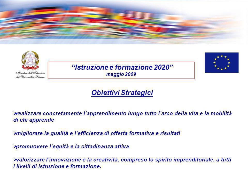 Istruzione e formazione 2020 maggio 2009 Obiettivi Strategici realizzare concretamente lapprendimento lungo tutto larco della vita e la mobilità di ch