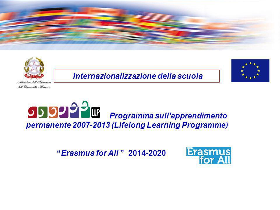 Programma sull'apprendimento permanente 2007-2013 (Lifelong Learning Programme) Erasmus for All 2014-2020 Internazionalizzazione della scuola