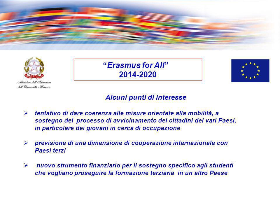 Erasmus for All 2014-2020 tentativo di dare coerenza alle misure orientate alla mobilità, a sostegno del processo di avvicinamento dei cittadini dei v