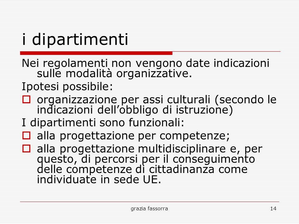 grazia fassorra14 i dipartimenti Nei regolamenti non vengono date indicazioni sulle modalità organizzative. Ipotesi possibile: organizzazione per assi