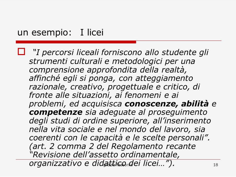 grazia fassorra18 un esempio: I licei I percorsi liceali forniscono allo studente gli strumenti culturali e metodologici per una comprensione approfon