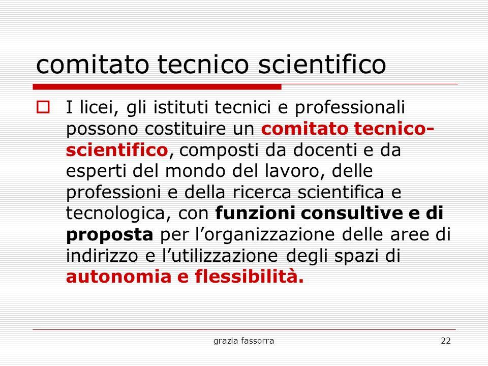 grazia fassorra22 comitato tecnico scientifico I licei, gli istituti tecnici e professionali possono costituire un comitato tecnico- scientifico, comp