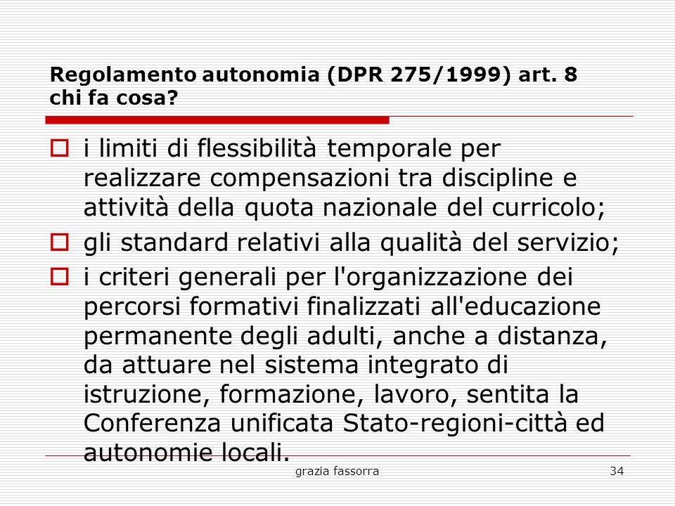 grazia fassorra34 Regolamento autonomia (DPR 275/1999) art. 8 chi fa cosa? i limiti di flessibilità temporale per realizzare compensazioni tra discipl
