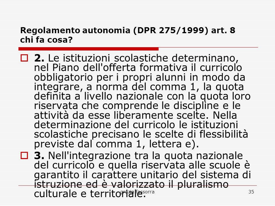 grazia fassorra35 Regolamento autonomia (DPR 275/1999) art. 8 chi fa cosa? 2. Le istituzioni scolastiche determinano, nel Piano dell'offerta formativa