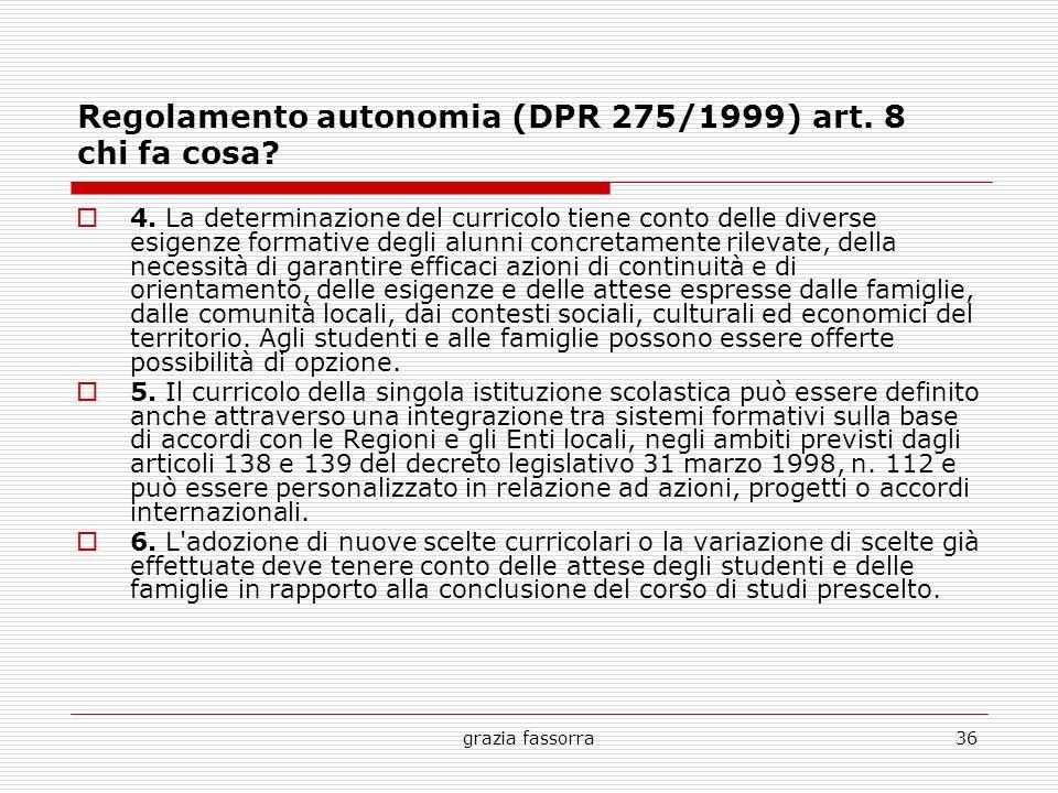 grazia fassorra36 Regolamento autonomia (DPR 275/1999) art. 8 chi fa cosa? 4. La determinazione del curricolo tiene conto delle diverse esigenze forma