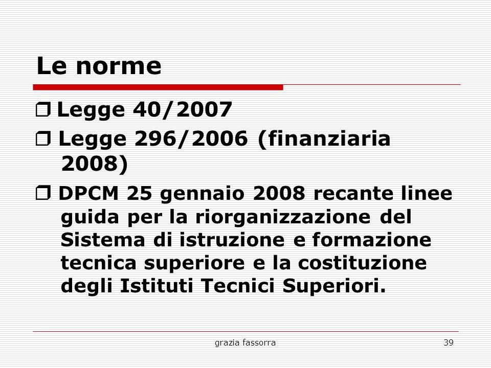 grazia fassorra39 Le norme Legge 40/2007 Legge 296/2006 (finanziaria 2008) DPCM 25 gennaio 2008 recante linee guida per la riorganizzazione del Sistem