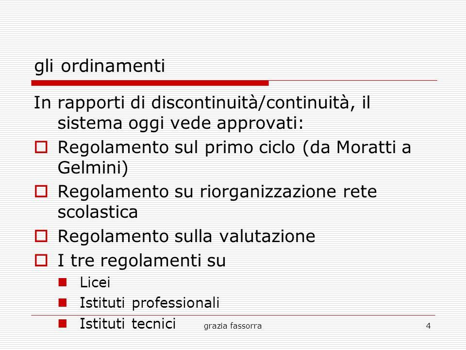 grazia fassorra4 gli ordinamenti In rapporti di discontinuità/continuità, il sistema oggi vede approvati: Regolamento sul primo ciclo (da Moratti a Ge