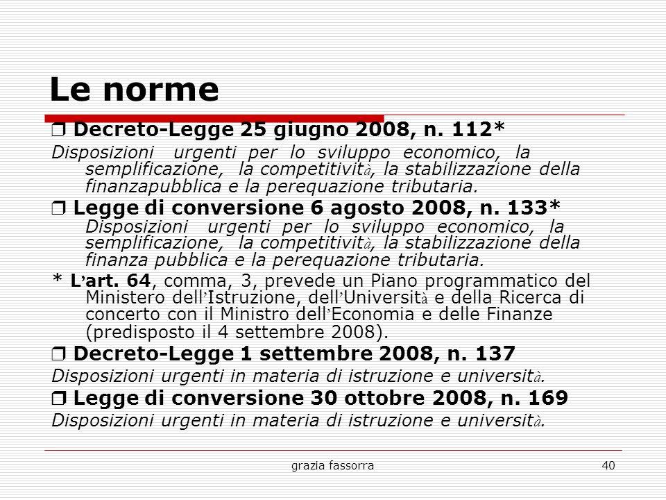 grazia fassorra40 Le norme Decreto-Legge 25 giugno 2008, n. 112* Disposizioni urgenti per lo sviluppo economico, la semplificazione, la competitivit à