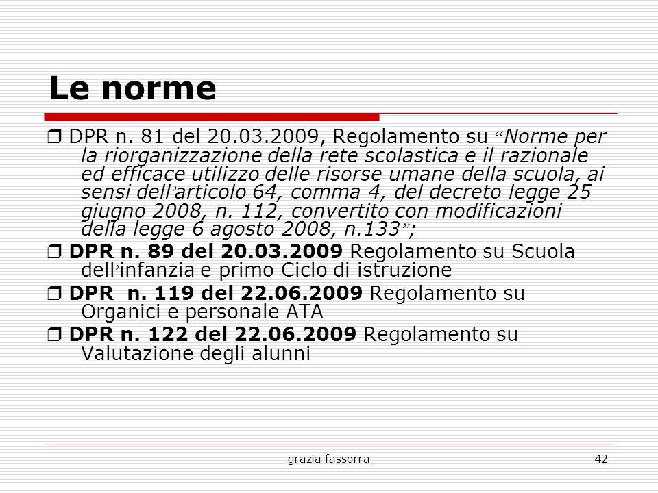 grazia fassorra42 Le norme DPR n. 81 del 20.03.2009, Regolamento su Norme per la riorganizzazione della rete scolastica e il razionale ed efficace uti