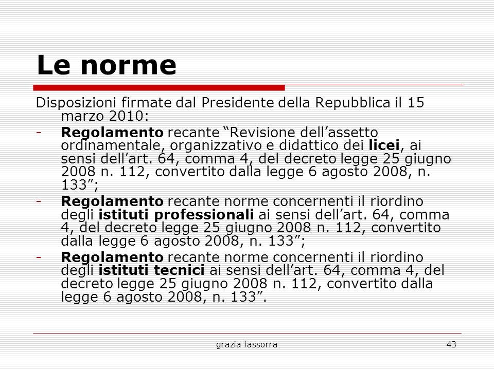 grazia fassorra43 Le norme Disposizioni firmate dal Presidente della Repubblica il 15 marzo 2010: -Regolamento recante Revisione dellassetto ordinamen