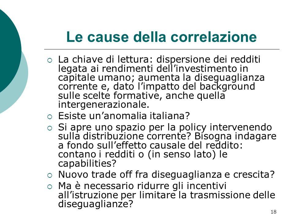 18 Le cause della correlazione La chiave di lettura: dispersione dei redditi legata ai rendimenti dellinvestimento in capitale umano; aumenta la diseg