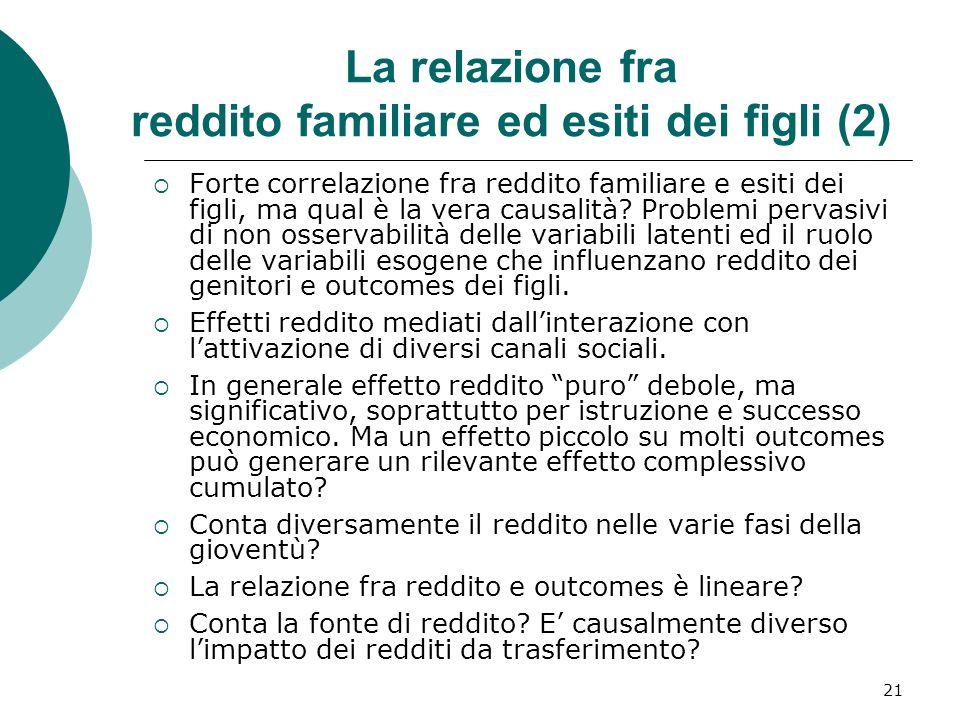 21 La relazione fra reddito familiare ed esiti dei figli (2) Forte correlazione fra reddito familiare e esiti dei figli, ma qual è la vera causalità?