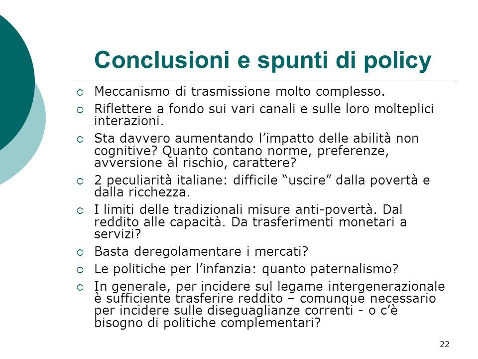 22 Conclusioni e spunti di policy Meccanismo di trasmissione molto complesso. Riflettere a fondo sui vari canali e sulle loro molteplici interazioni.