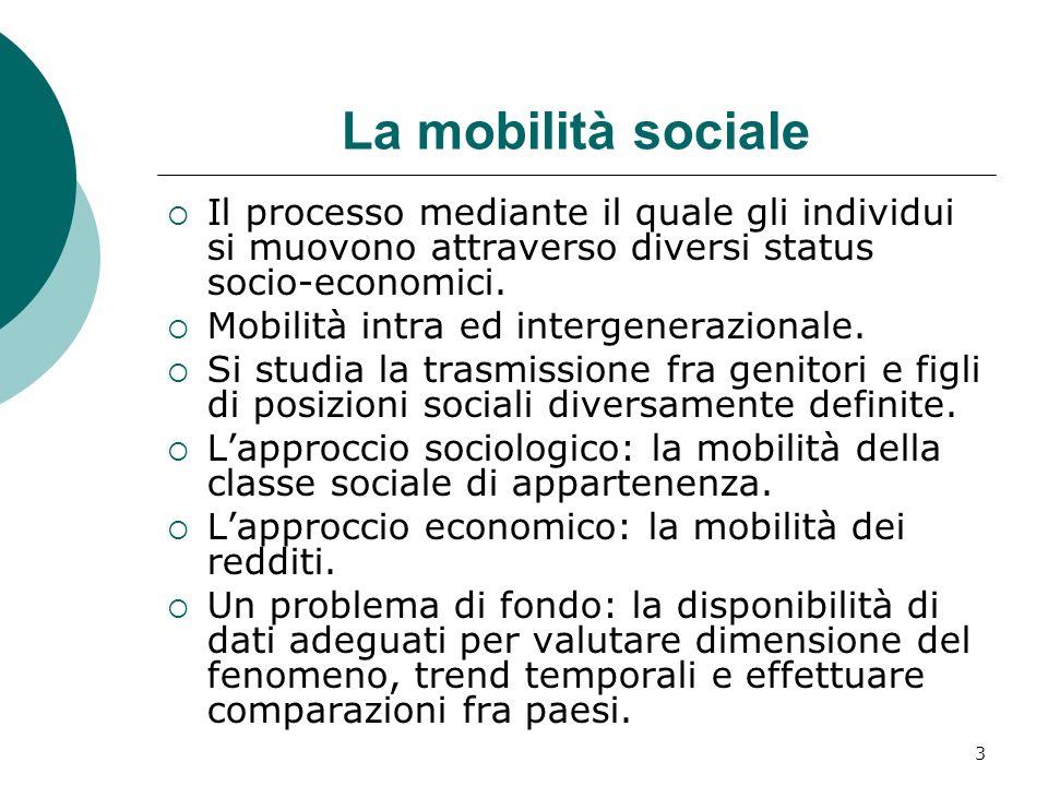 3 La mobilità sociale Il processo mediante il quale gli individui si muovono attraverso diversi status socio-economici. Mobilità intra ed intergeneraz