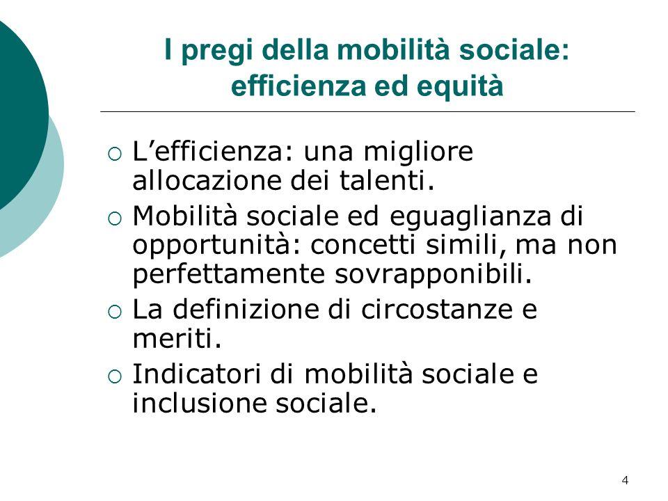 4 I pregi della mobilità sociale: efficienza ed equità Lefficienza: una migliore allocazione dei talenti. Mobilità sociale ed eguaglianza di opportuni