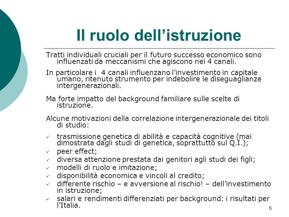 6 Il ruolo dellistruzione Tratti individuali cruciali per il futuro successo economico sono influenzati da meccanismi che agiscono nei 4 canali. In pa