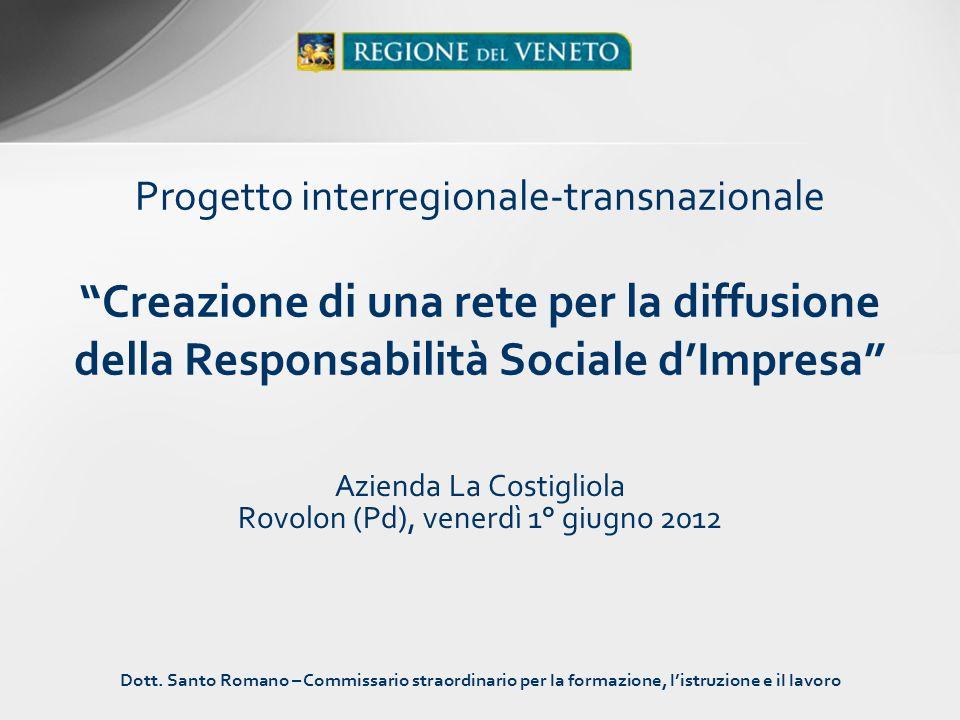 Progetto interregionale-transnazionale Creazione di una rete per la diffusione della Responsabilità Sociale dImpresa Azienda La Costigliola Rovolon (P