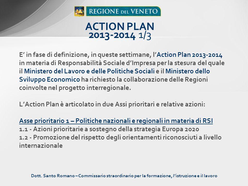 E in fase di definizione, in queste settimane, lAction Plan 2013-2014 in materia di Responsabilità Sociale dImpresa per la stesura del quale il Minist