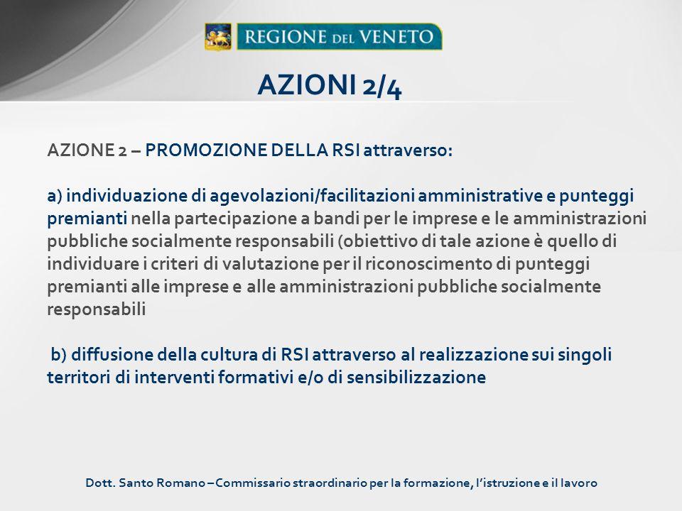 AZIONE 2 – PROMOZIONE DELLA RSI attraverso: a) individuazione di agevolazioni/facilitazioni amministrative e punteggi premianti nella partecipazione a