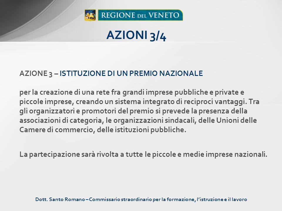 AZIONE 3 – ISTITUZIONE DI UN PREMIO NAZIONALE per la creazione di una rete fra grandi imprese pubbliche e private e piccole imprese, creando un sistem