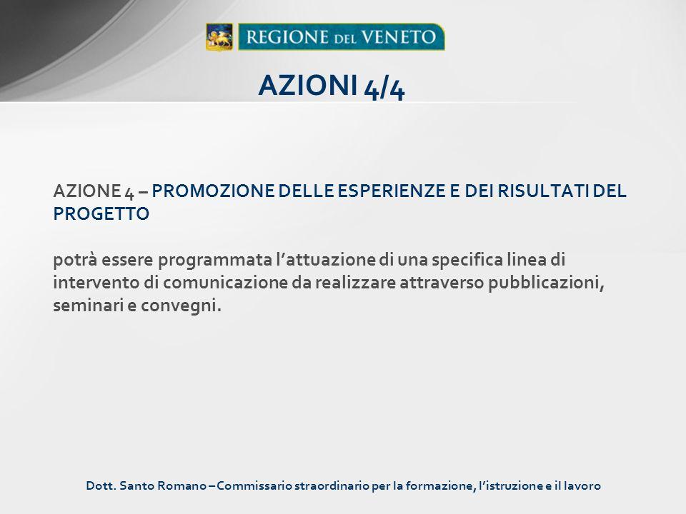 AZIONE 4 – PROMOZIONE DELLE ESPERIENZE E DEI RISULTATI DEL PROGETTO potrà essere programmata lattuazione di una specifica linea di intervento di comun