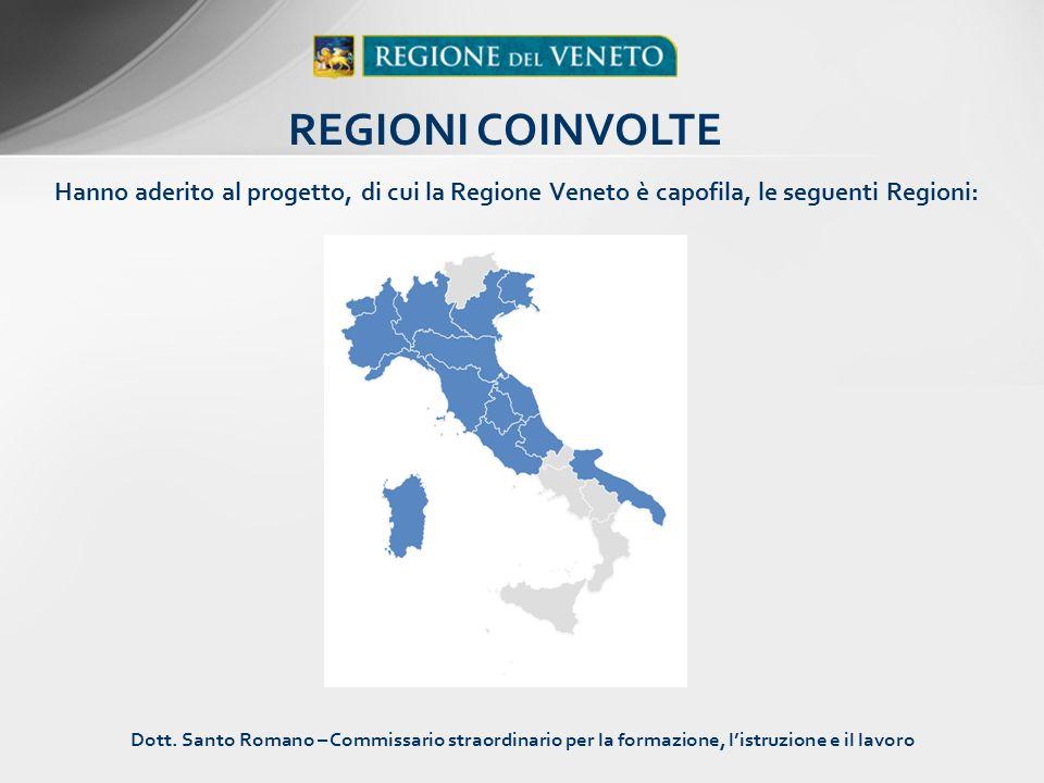 Hanno aderito al progetto, di cui la Regione Veneto è capofila, le seguenti Regioni: REGIONI COINVOLTE Dott. Santo Romano – Commissario straordinario