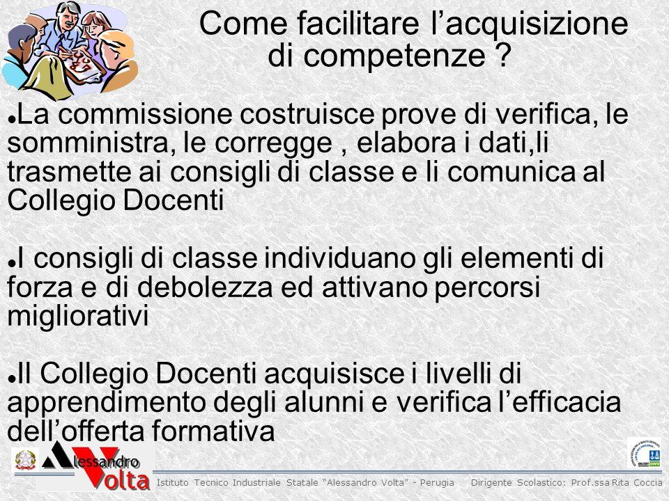Dirigente Scolastico: Prof.ssa Rita Coccia Istituto Tecnico Industriale Statale Alessandro Volta - Perugia Come facilitare lacquisizione di competenze .