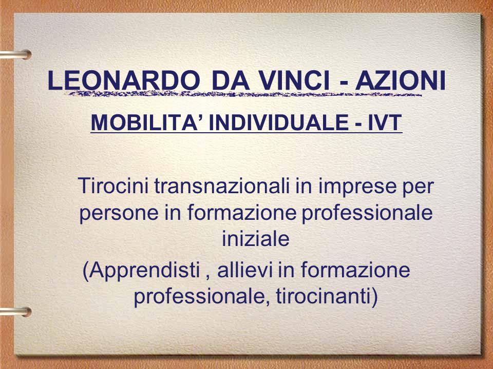LEONARDO DA VINCI - AZIONI MOBILITA INDIVIDUALE - IVT Tirocini transnazionali in imprese per persone in formazione professionale iniziale (Apprendisti, allievi in formazione professionale, tirocinanti)