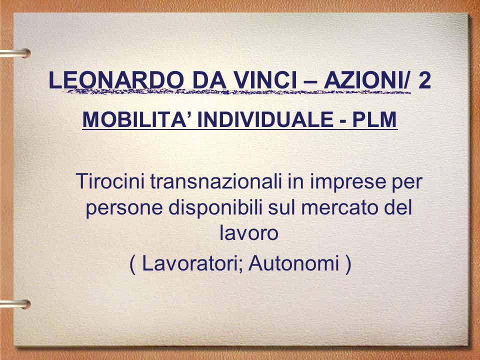 LEONARDO DA VINCI – AZIONI/ 2 MOBILITA INDIVIDUALE - PLM Tirocini transnazionali in imprese per persone disponibili sul mercato del lavoro ( Lavoratori; Autonomi )