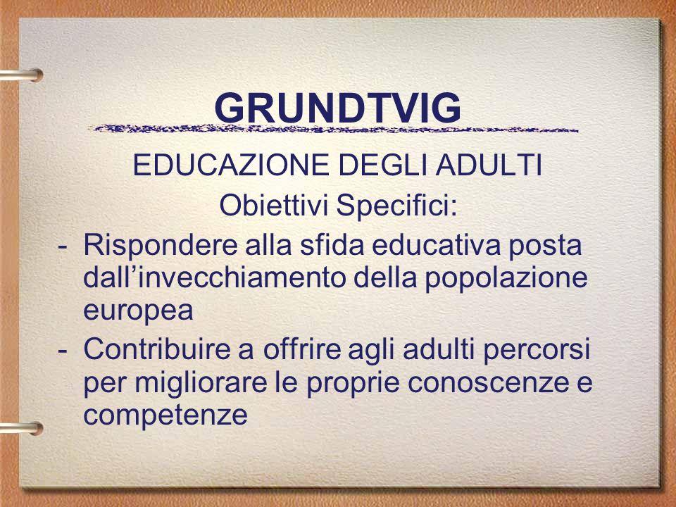 GRUNDTVIG EDUCAZIONE DEGLI ADULTI Obiettivi Specifici: -Rispondere alla sfida educativa posta dallinvecchiamento della popolazione europea -Contribuire a offrire agli adulti percorsi per migliorare le proprie conoscenze e competenze