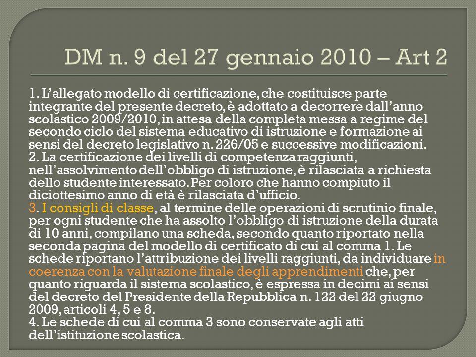 DM n. 9 del 27 gennaio 2010 – Art 2 1. Lallegato modello di certificazione, che costituisce parte integrante del presente decreto, è adottato a decorr
