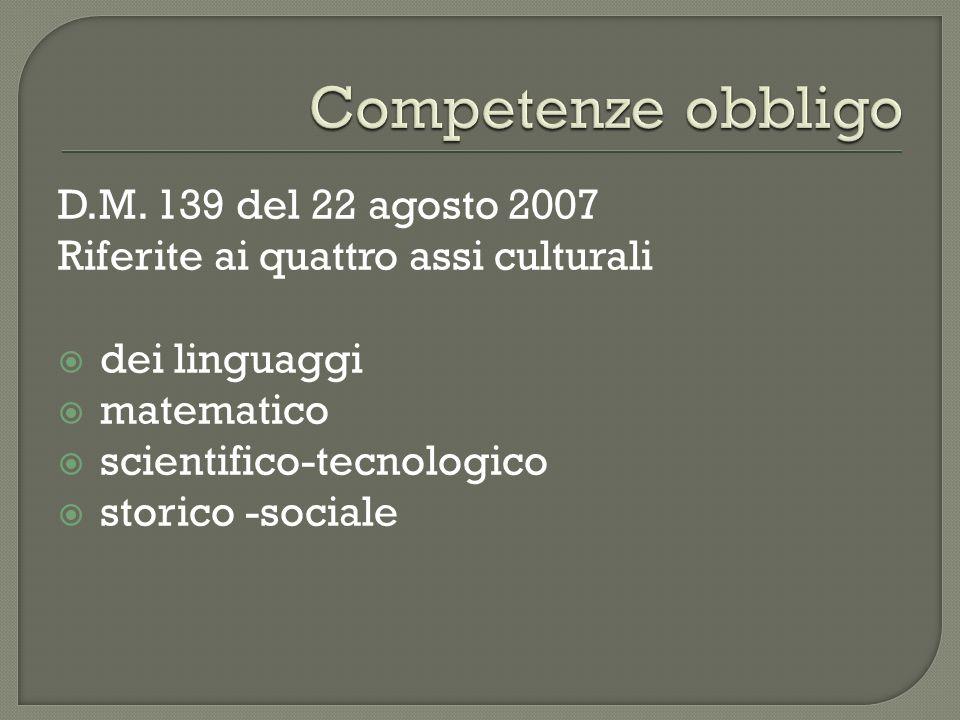 D.M. 139 del 22 agosto 2007 Riferite ai quattro assi culturali dei linguaggi matematico scientifico-tecnologico storico -sociale