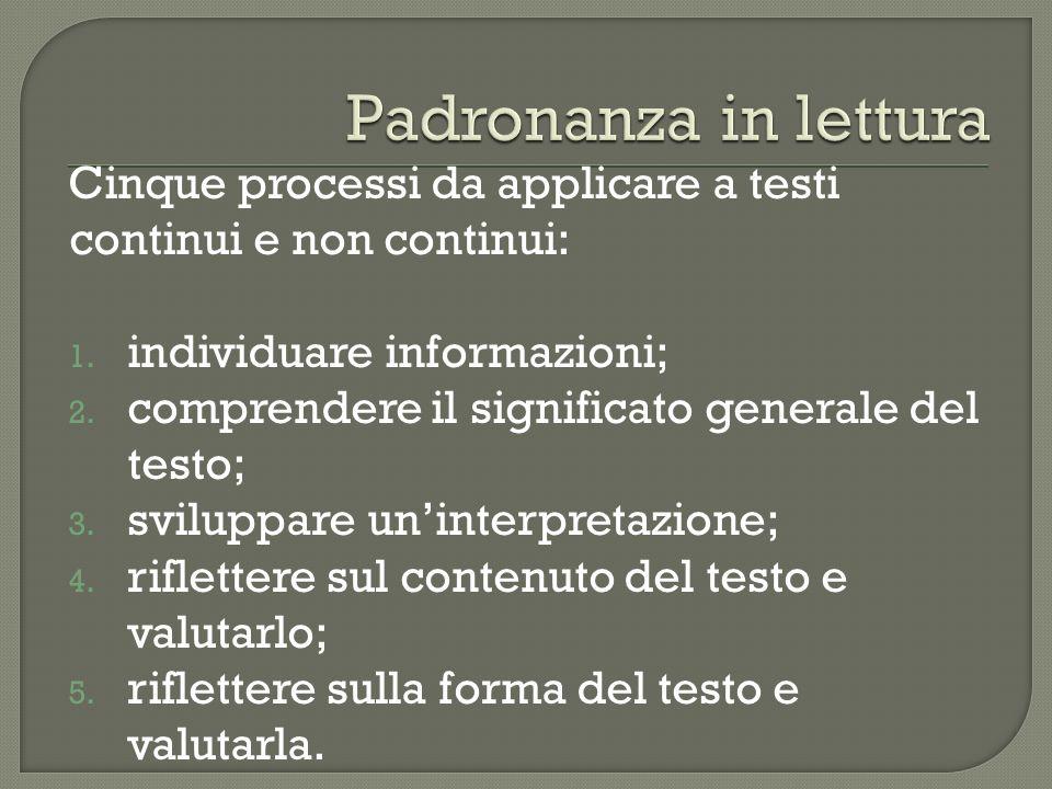 Cinque processi da applicare a testi continui e non continui: 1. individuare informazioni; 2. comprendere il significato generale del testo; 3. svilup