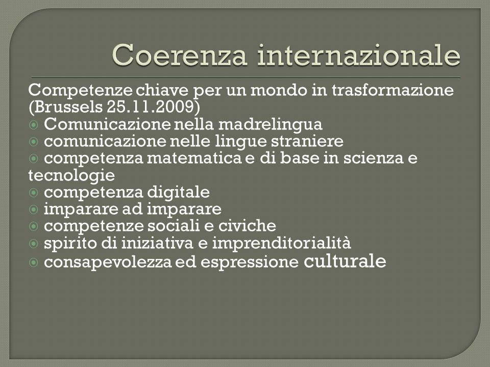 Coerenza internazionale Sviluppo competenze Valutazione trasparente e coordinata a livello europeo Raggiungimento benchmark