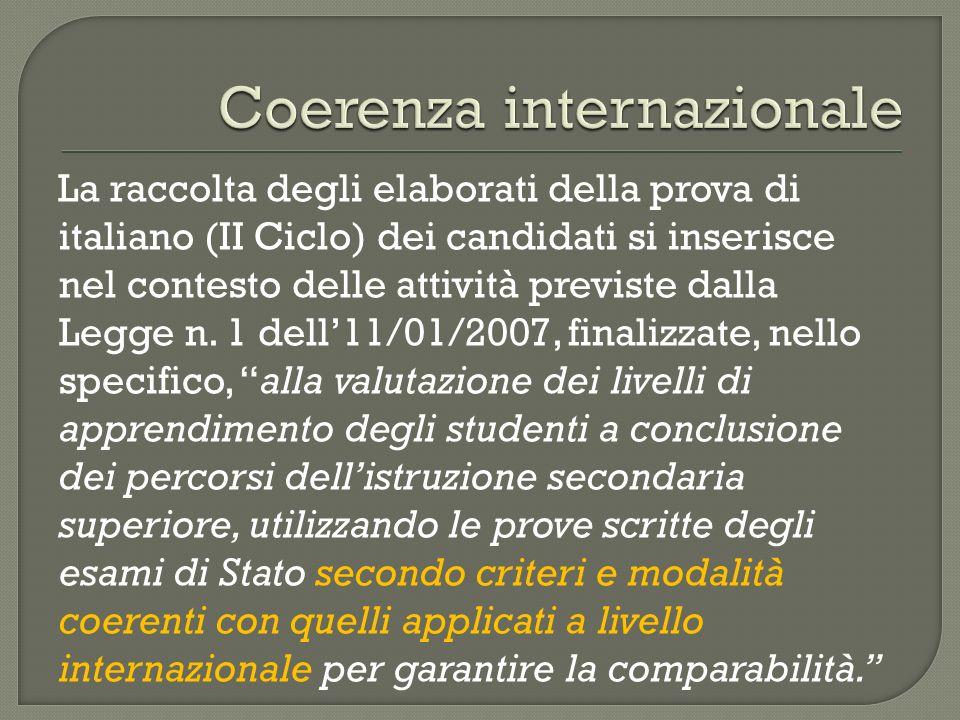 La raccolta degli elaborati della prova di italiano (II Ciclo) dei candidati si inserisce nel contesto delle attività previste dalla Legge n. 1 dell11