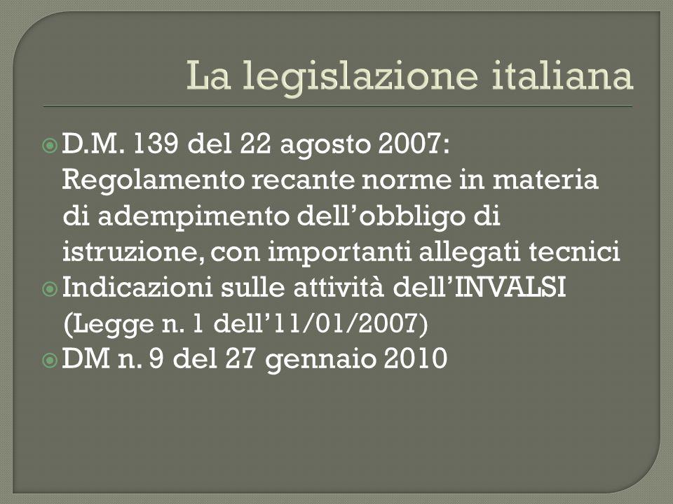 La legislazione italiana D.M. 139 del 22 agosto 2007: Regolamento recante norme in materia di adempimento dellobbligo di istruzione, con importanti al