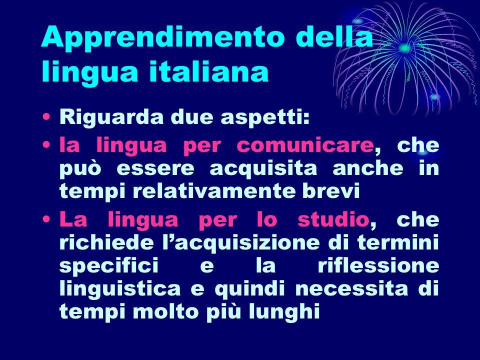 Apprendimento della lingua italiana Riguarda due aspetti: la lingua per comunicare, che può essere acquisita anche in tempi relativamente brevi La lin