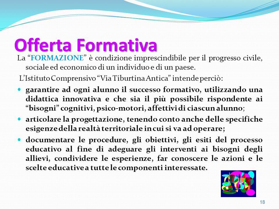 Offerta Formativa La FORMAZIONE è condizione imprescindibile per il progresso civile, sociale ed economico di un individuo e di un paese. LIstituto Co