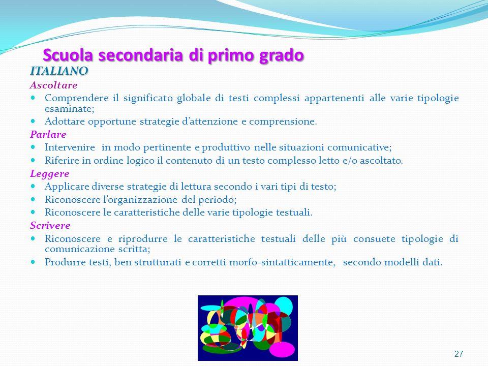 Scuola secondaria di primo grado ITALIANO Ascoltare Comprendere il significato globale di testi complessi appartenenti alle varie tipologie esaminate;