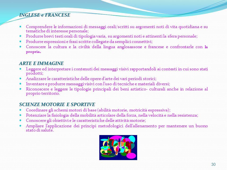 INGLESE e FRANCESE Comprendere le informazioni di messaggi orali/scritti su argomenti noti di vita quotidiana e su tematiche di interesse personale; P