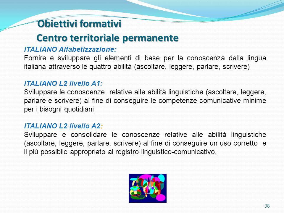 Obiettivi formativi Centro territoriale permanente Obiettivi formativi Centro territoriale permanente 38 : ITALIANO Alfabetizzazione: Fornire e svilup
